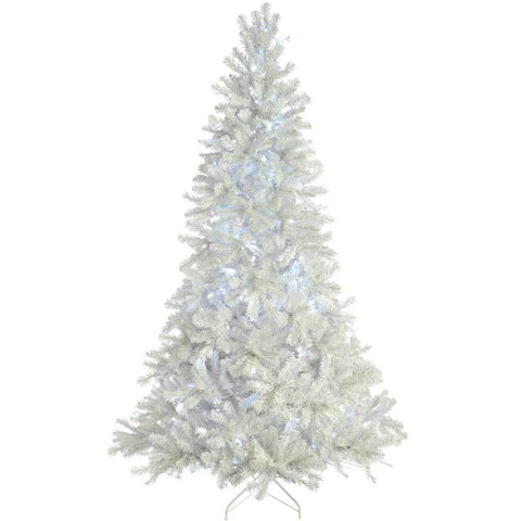 WeRChristmas Pre-Lit Deluxe White Pine Pre-Lit Multi-Function Christmas Tree with 350-LED Lights, 7 ft/2.1 m
