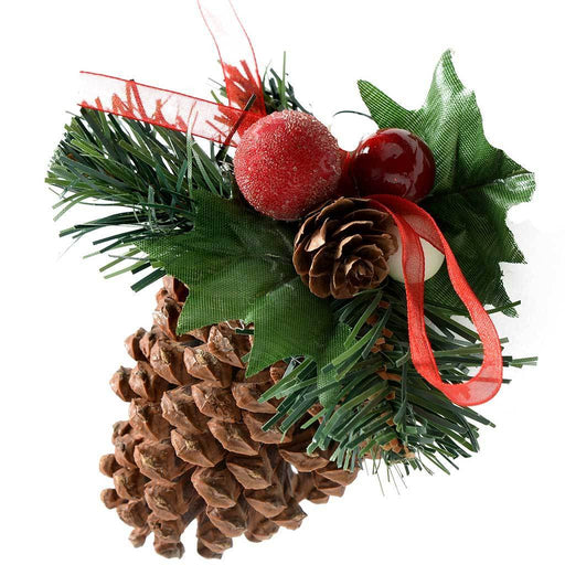 Decorated Pine Cone Christmas Decoration - Cream/Gold, Pack of 5