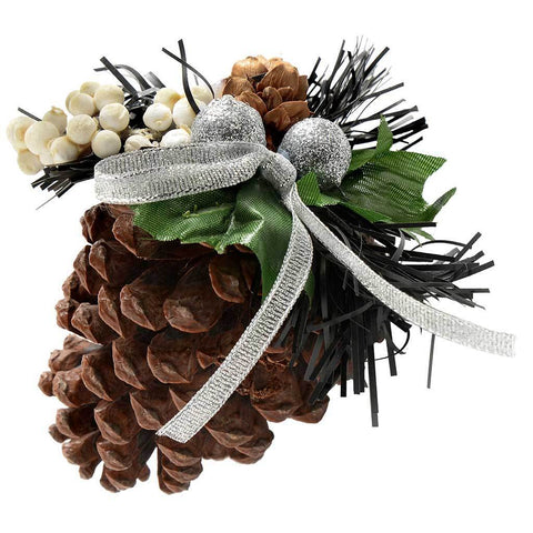 Decorated Pine Cone Christmas Decoration - Black/Silver, Pack of 5