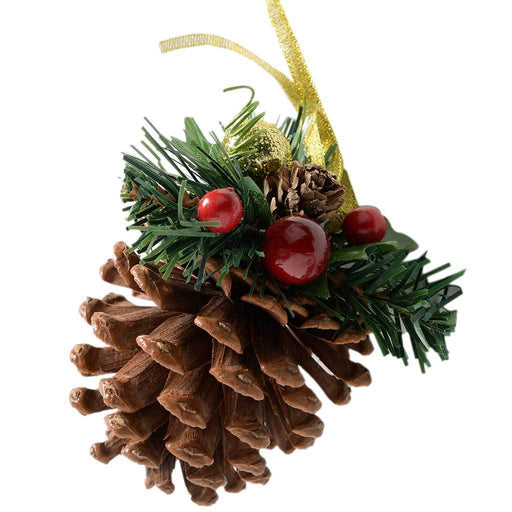 Decorated Pine Cone Christmas Decoration - Red/Gold, Pack of 5