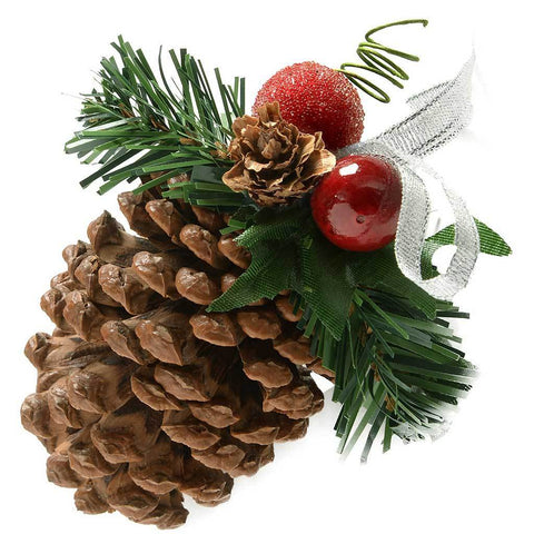 Decorated Pine Cone Christmas Decoration, Pack of 5, Frosted Silver