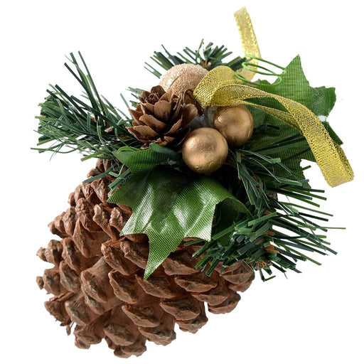 Decorated Pine Cone Christmas Decoration - Copper/Gold, Pack of 5