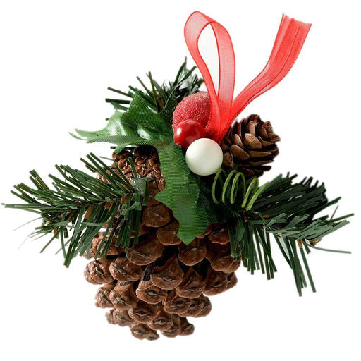 Decorated Pine Cone Christmas Decoration - Natural/Red, Pack of 5