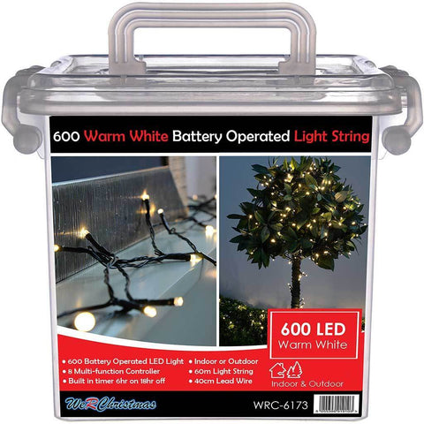 Outdoor Battery Operated 600 Multi-Function LED Lights with Timer, 60 m - Warm White