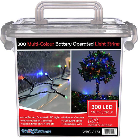 Outdoor Battery Operated 300 Multi-Function LED Lights with Timer, 30 m - Multi-Colour