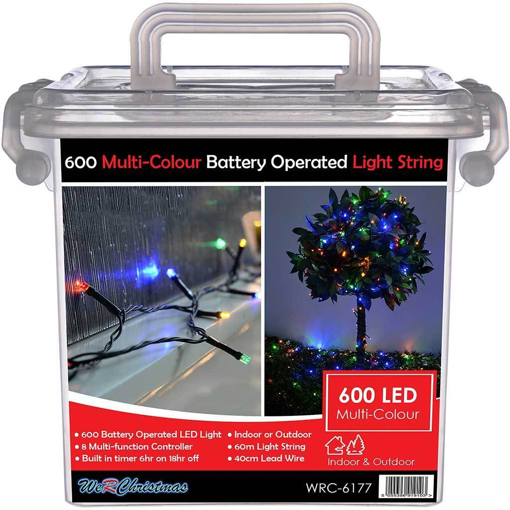 60m Outdoor Battery Operated 600 Multi Function Led Lights With Timer Controller Multi Colour