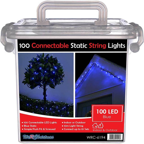 100 Connectable Static LED String Lights with 2 Pin Male and Female Connector, 10 m - Blue