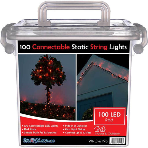 100 Connectable Static LED String Lights with 2 Pin Male and Female Connector, 10 m - Red