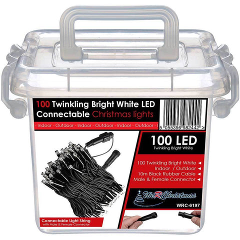 100 Connectable Twinkling LED String Lights 2 Pin Male and Female Connector, 10 m - Bright White