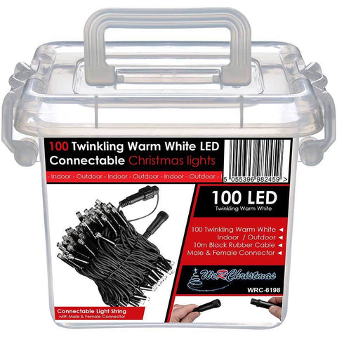 100 Connectable Twinkling LED String Lights 2 Pin Male and Female Connector, 10 m - Warm White