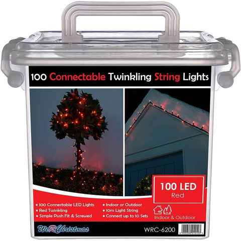 100 Connectable Twinkling LED String Lights 2 Pin Male and Female Connector, 10 m - Red