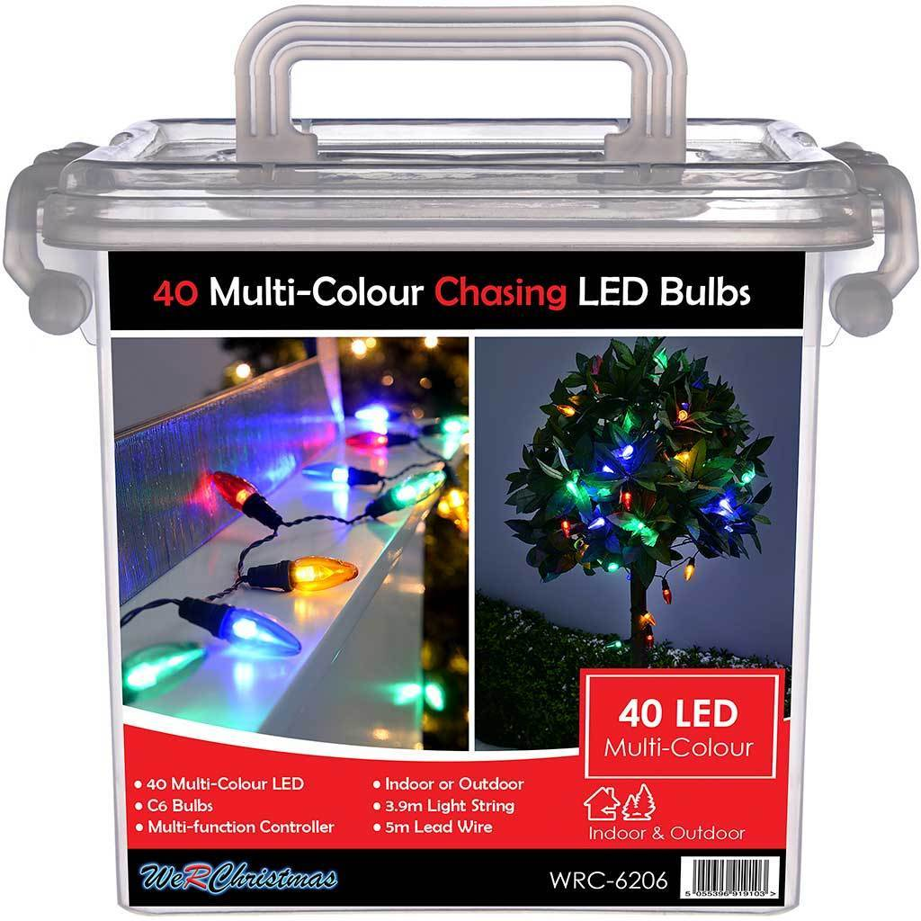 40 Piece Multi Colour Chasing Led Bulb Lights String Christmas Tree De Werchristmas