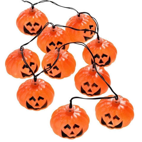 Pumpkin Light string with 10 White LED Lights - Orange