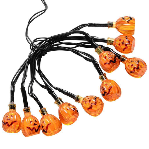 Acrylic Pumpkin Shade Lights Halloween Decoration with 10 Red LED - Orange