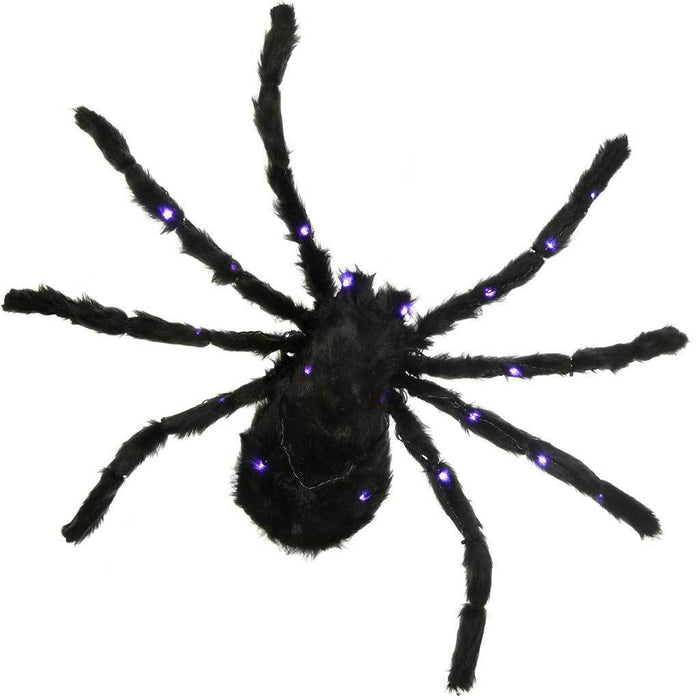 Pre-Lit Spider with 30 Purple LED Lights Halloween Decoration, Black