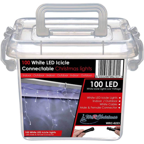 100 Connectable Icicle LED String Lights with 2 Pin Male and Female, 2.3 m - White