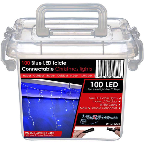 100 Connectable Icicle LED String Lights with 2 Pin Male and Female, 2.3 m - Blue