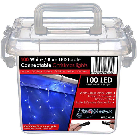 100 Connectable Icicle LED String Lights with 2 Pin Male and Female, 2.2 m - Blue/White