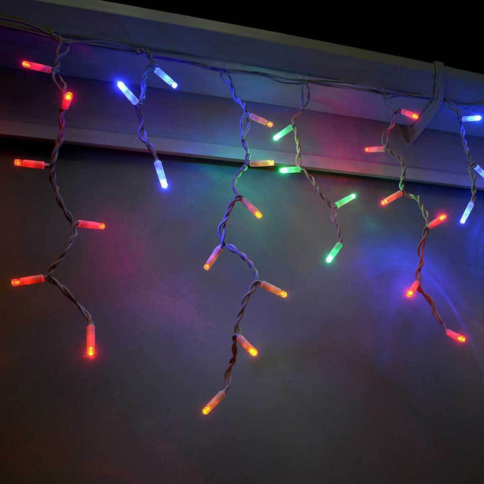 100 Connectable Icicle LED String Lights with 2 Pin Male and Female, 2.2 m - Multi-Colour