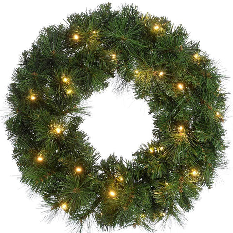 Alberta Spruce Pre-Lit Wreath Illuminated with 35 Warm White LED Lights, 60 cm