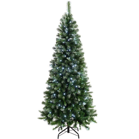Pre-Lit Slim Frosted Christmas Tree with 200 White LED Lights, 6 ft/1.8 m