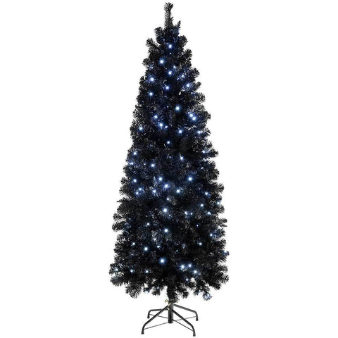 Pre-Lit Slim Black Christmas Tree with 200 White LED Lights, 6 ft/1.8 m