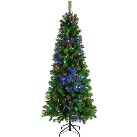 Pre-Lit Slim Christmas Tree with 200 Multi Colour LED Lights, 6 ft/1.8 m