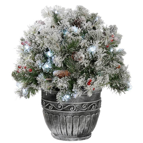 Pre-Lit Snow Flocked Potted Bush with 50 Bright Lights and Pine Cones Timer Control