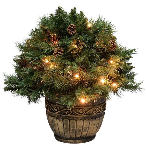 Pre-Lit Potted Bush with 50 LED Lights and Pine Cones with Timer Control