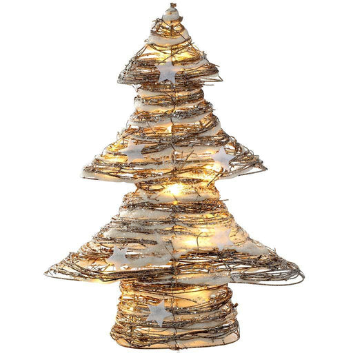 Rattan Pre-Lit Warm White LED Christmas Tree with Snow and Stars Decoration, 48 cm