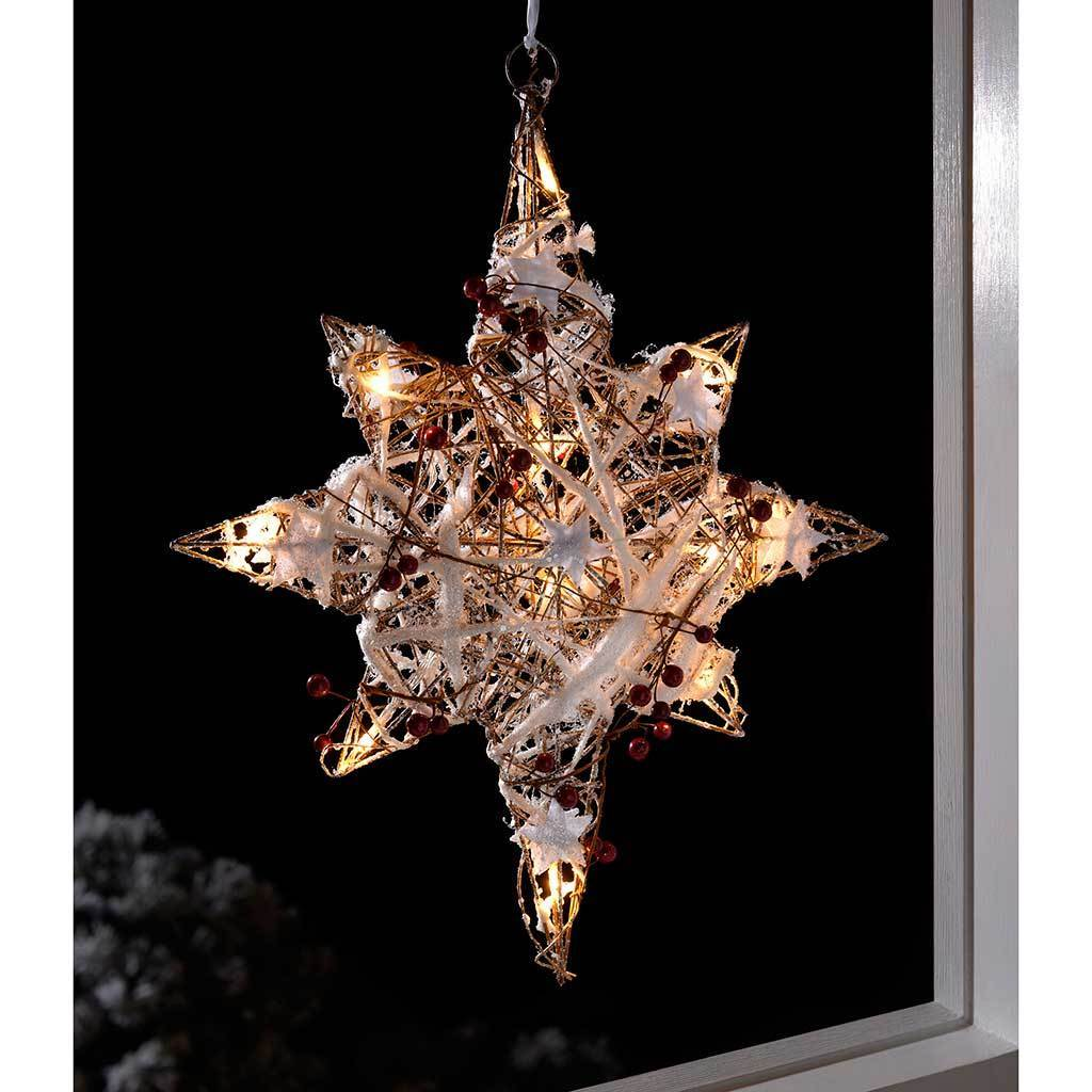 Pre-Lit Rattan Star with Snow and Berries Christmas Decoration, 48 cm