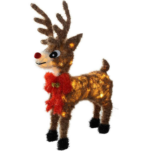 Pre-Lit Tinsel Warm LED Rudolph Reindeer Christmas Decoration, 74 cm - White