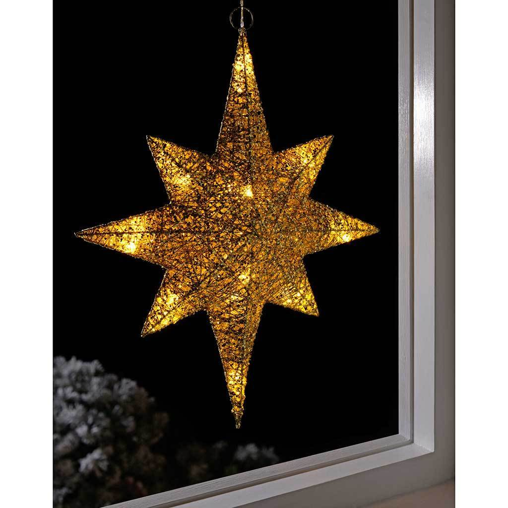 Pre-Lit String Warm LED Gold Star Christmas Decoration, 48 cm - White