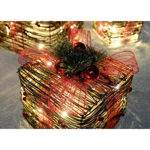 Pre-Lit Rattan Warm LED Present with Red Ribbon, 25/20/15 cm - White, Set of 3