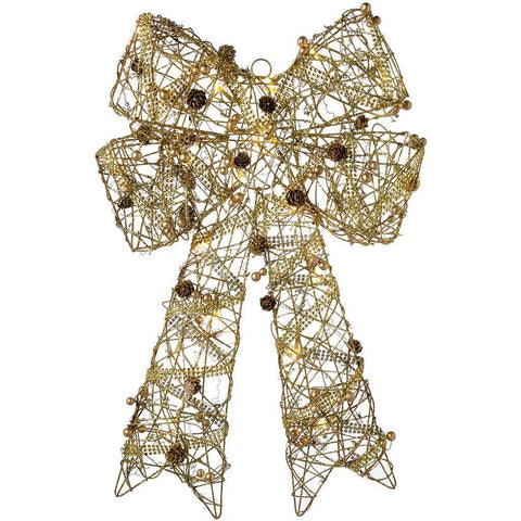 Pre-Lit Rattan Warm White LED Ribbon Bow with Beads and Pinecones, 60 cm - Gold