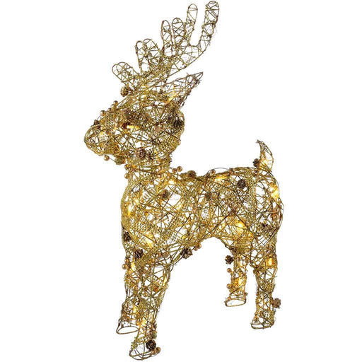Pre-Lit Rattan Warm LED Reindeer with Gold Beads and Pinecones, 70 cm - White