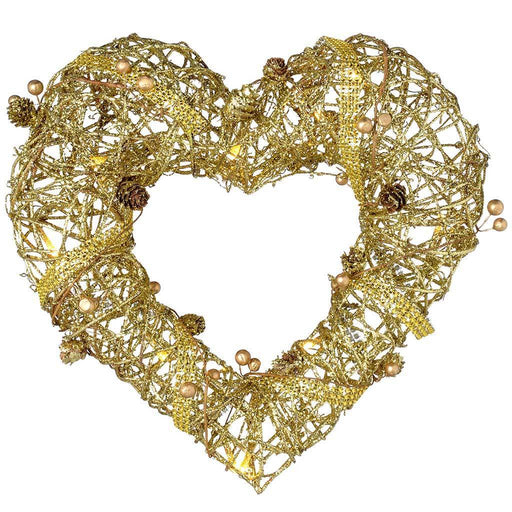Pre-Lit Rattan Warm White LED Heart Wreath with Gold Beads and Pinecones, 33 cm
