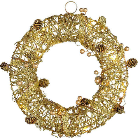 Pre-Lit Rattan Warm LED Wreath with Gold Beads and Pinecones, 30 cm - Gold