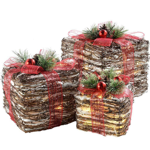 Pre-Lit Rattan LED Giftboxes with Red Ribbon and Cotton Snow, 15/20/26 cm - Set of 3