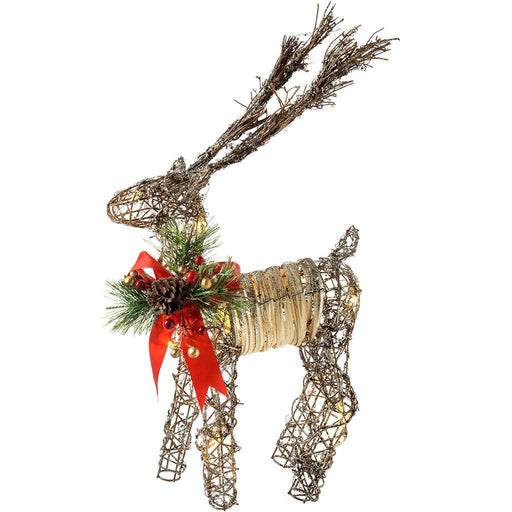 Pre-Lit Rattan Warm White LED Reindeer with Red Ribbon, Snow and a Dusting of Glitter, 53 cm