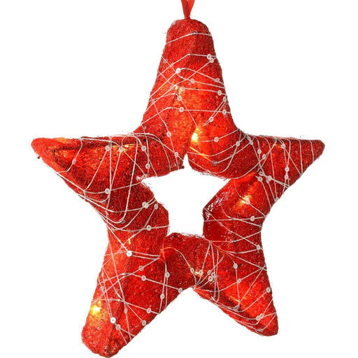 Pre-Lit Christmas Star with woven Silver Glitter String Christmas Decoration, 30 cm - Red