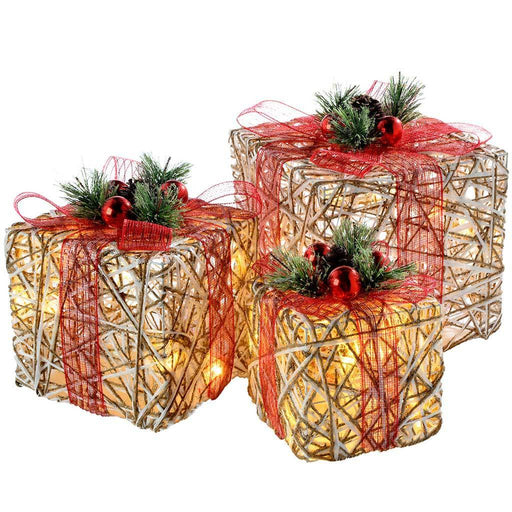 Rattan Pre-Lit LED Giftboxes 15cm/20cm/26cm with Red Ribbon, Set of 3