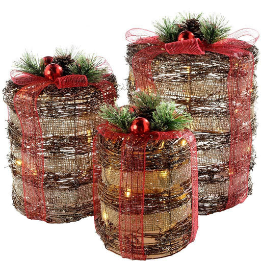 Pre-Lit Rattan LED Cylinder Giftboxes with Red Ribbon, 25 cm/30 cm/36 cm - Set of 3