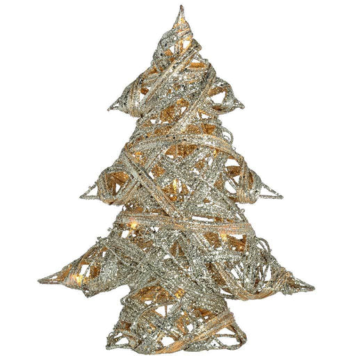 Pre-Lit Silver Woven Rattan Warm White LED Christmas Tree Glitter Coating, 33 cm