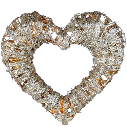 Pre-Lit Silver Woven Rattan Warm White LED Heart Decoration with Dusting of Glitter, 38 cm
