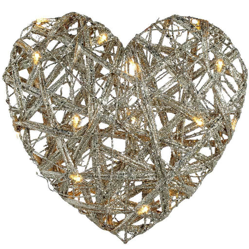 Pre-Lit Silver Woven Rattan Warm White LED Heart Decoration with Glitter Coating, 36 cm