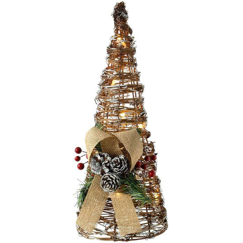 Pre-Lit Rattan LED Tree Cone Decorated with Pine Cone and Berries, Snow Frosting, 40 cm