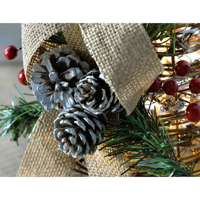 Pre-Lit Rattan LED Christmas Tree Decorated with Pine Cone and Berries, Snow Frosting, 34 cm
