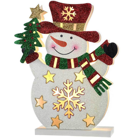 Pre-Lit Snowman Christmas Decoration, 30 cm - Multi-Colour