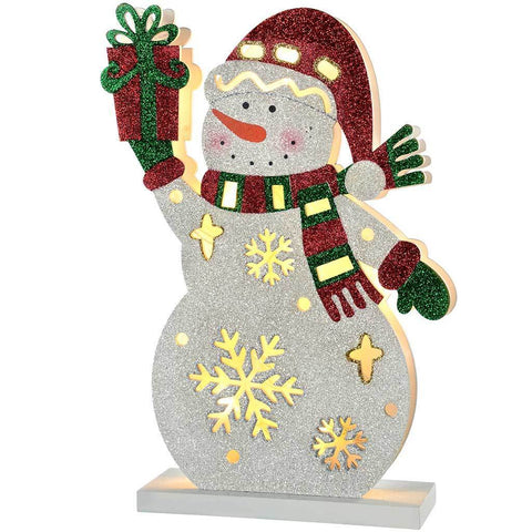 Pre-Lit Snowman with Present Christmas Decoration, 30 cm - Multi-Colour